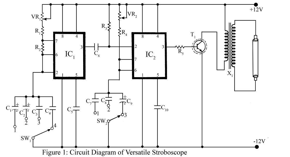 strobe light circuit using 555 ic engineering projects