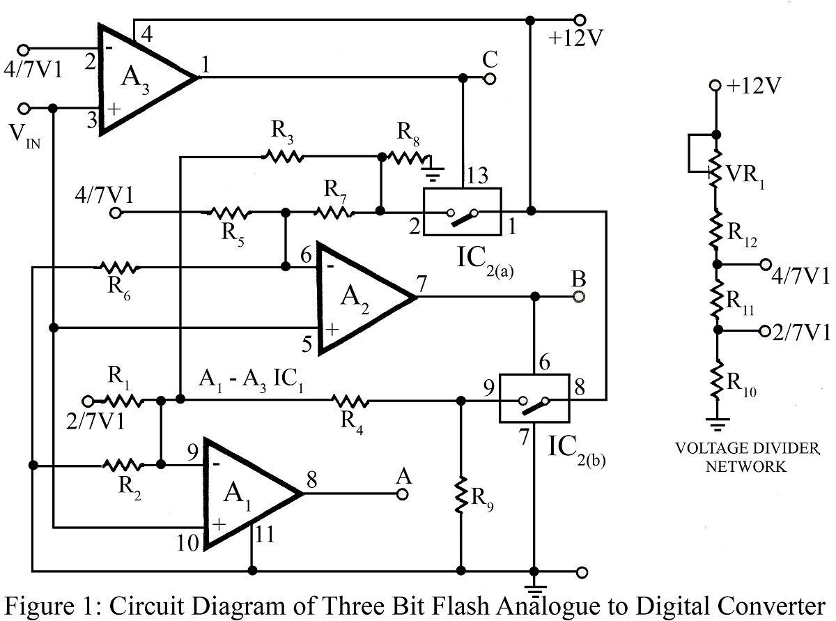 Three Bit Flash Analog To Digital Converter Circuit Sound Detector Using Lm324 Electronic Projects Circuits