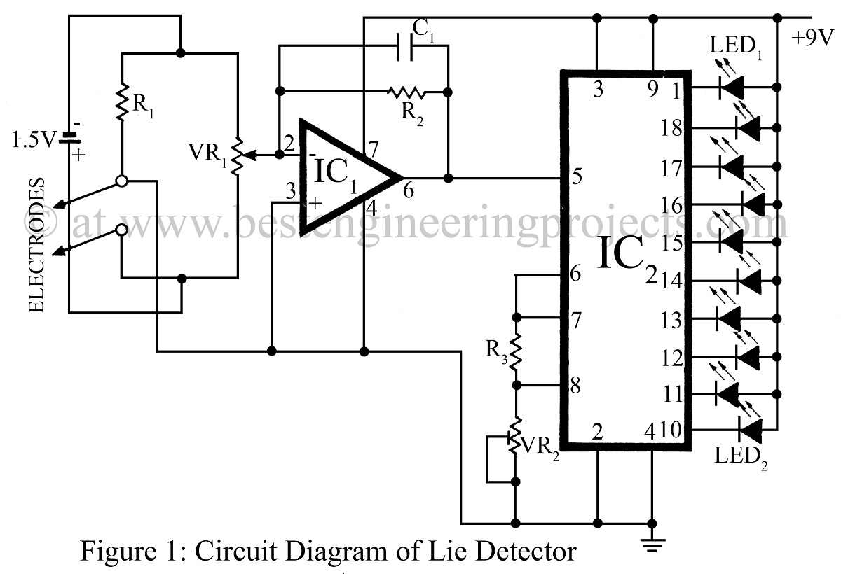 Lie Detector Circuit Diagram Using Led Bookmark About Wiring Light 9v Simple Engineering Projects Rh Bestengineeringprojects Com Switch Lamp