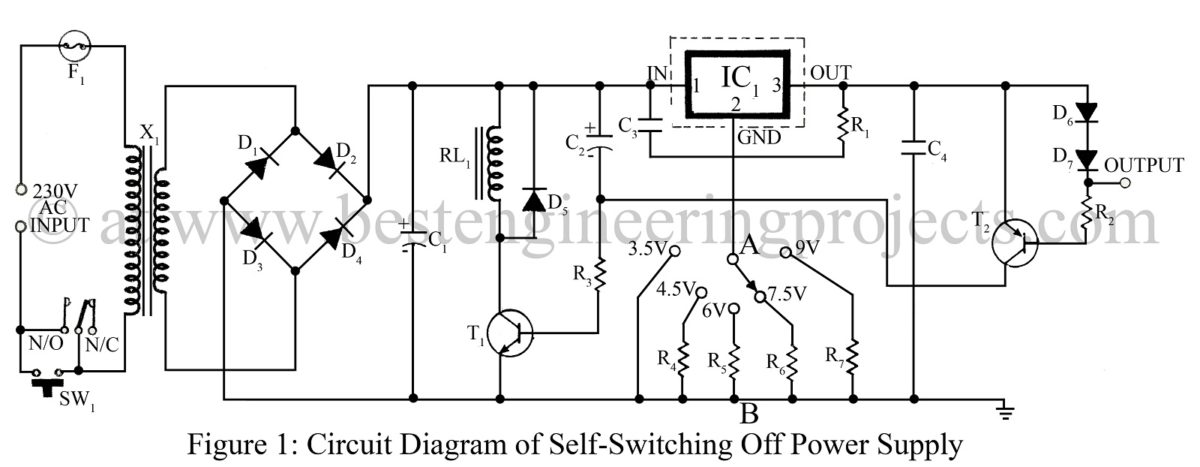 self switching off power supply circuit