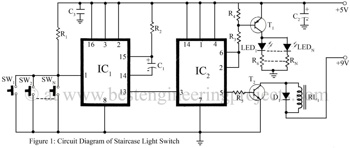 Switching And Controlling Circuit Electronic Projects Simple Touch Switch Using 555 Ic Light