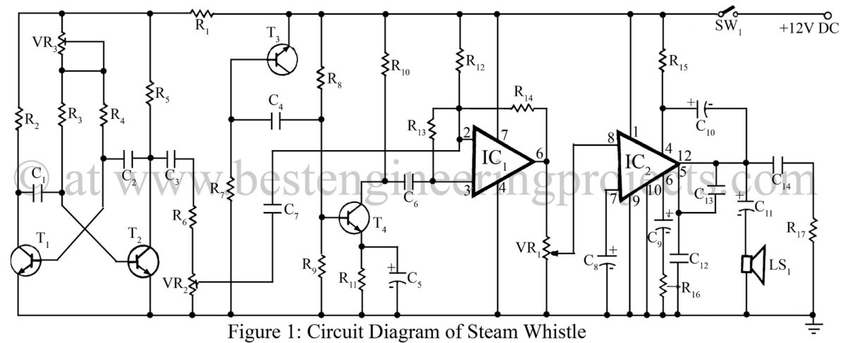 Steam Whistle Circuit Using 741 Ic Best Engineering Projects