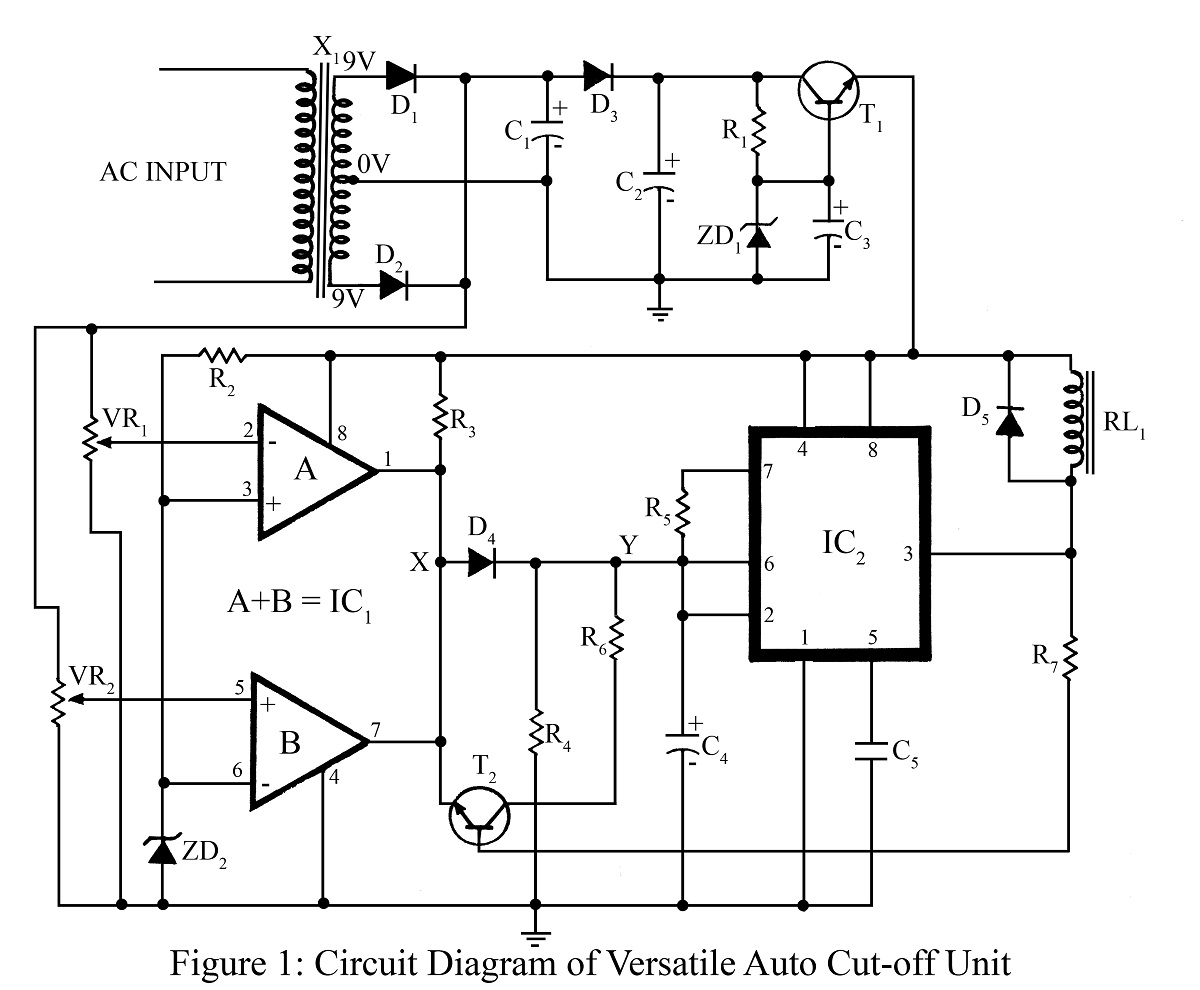 Versatile Auto Cut Off Unit Circuit Diagram Best Engineering Lm324 Comparator Projects
