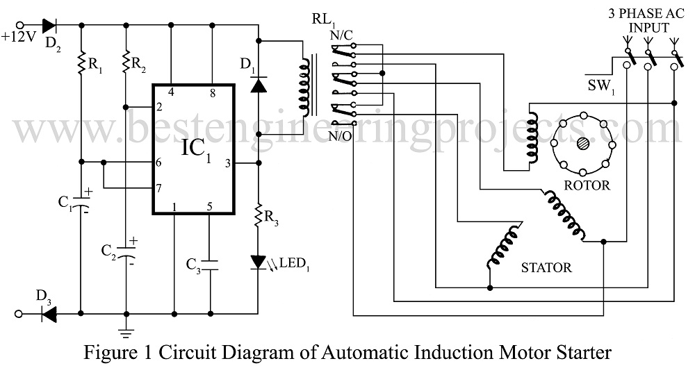 circuit diagram of automatic induction motor stater. Black Bedroom Furniture Sets. Home Design Ideas