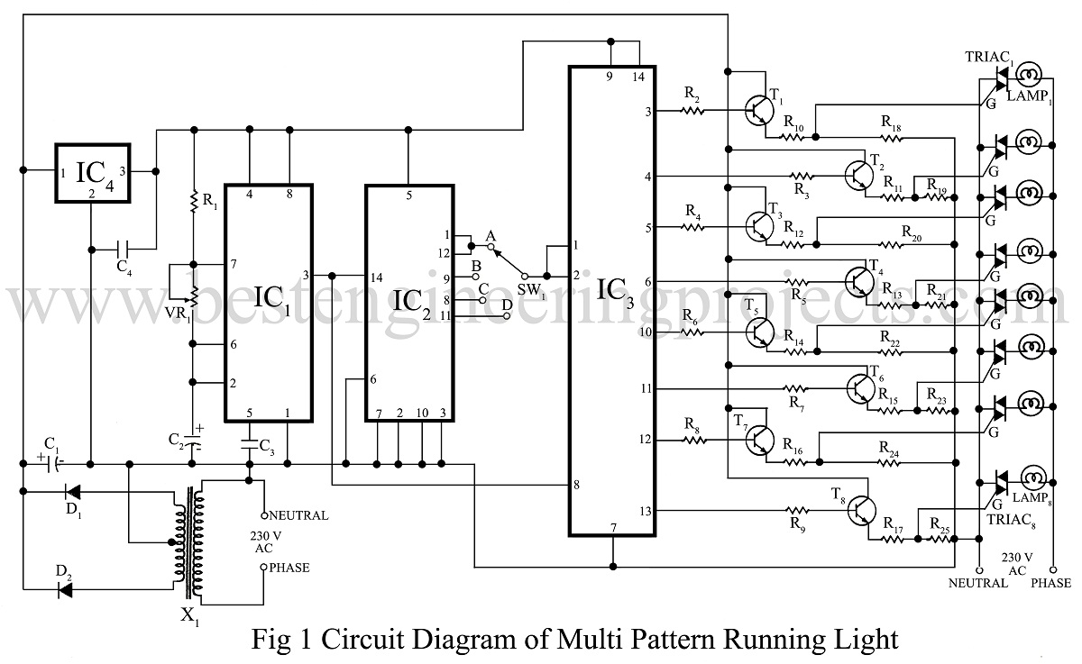 logic diagram 7493 multi pattern running light circuit engineering projects  multi pattern running light circuit