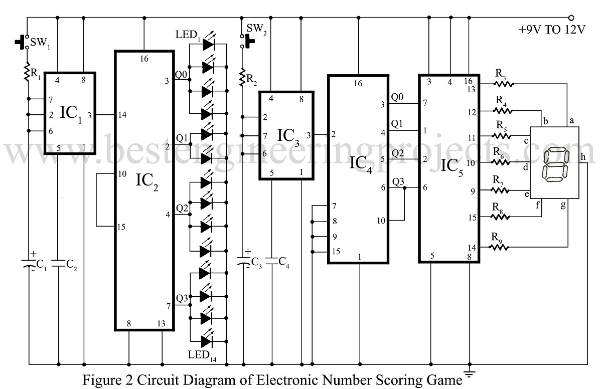 Electronic Games And Fun Projects Electronics Projectsonelectricalengineering Quiz Project Using Ic 555 Number Scoring Game Circuit Diagram Of
