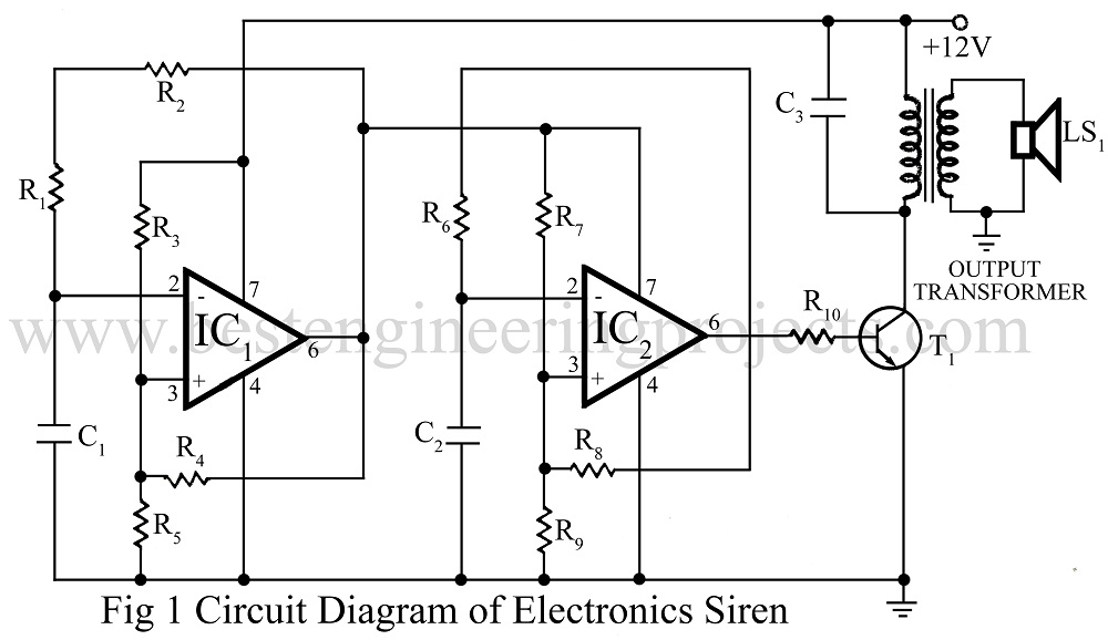 electronic siren circuit using op-amp 741