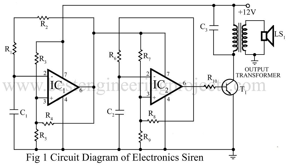 electronic siren circuit using op amp 741 best engineering projects rh bestengineeringprojects com Electrical Circuit Diagrams Burglar Alarm Circuit Diagram Simple