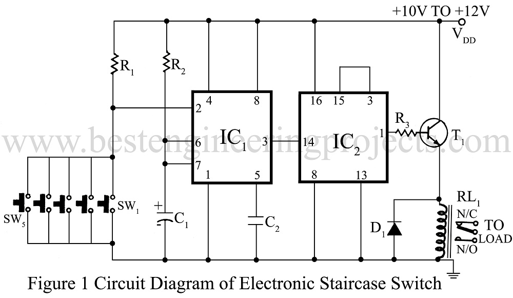 staircase switch circuit engineering projects. Black Bedroom Furniture Sets. Home Design Ideas