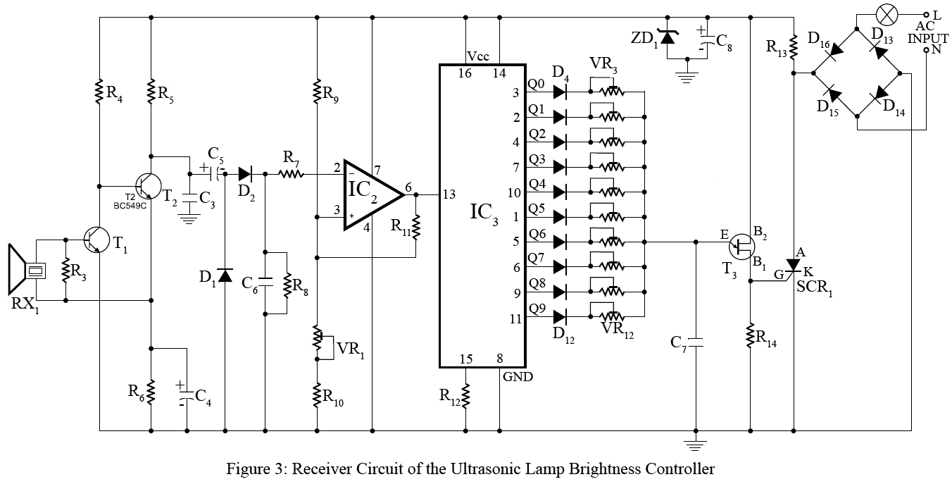 ultrasonic lamp brightness controller circuit