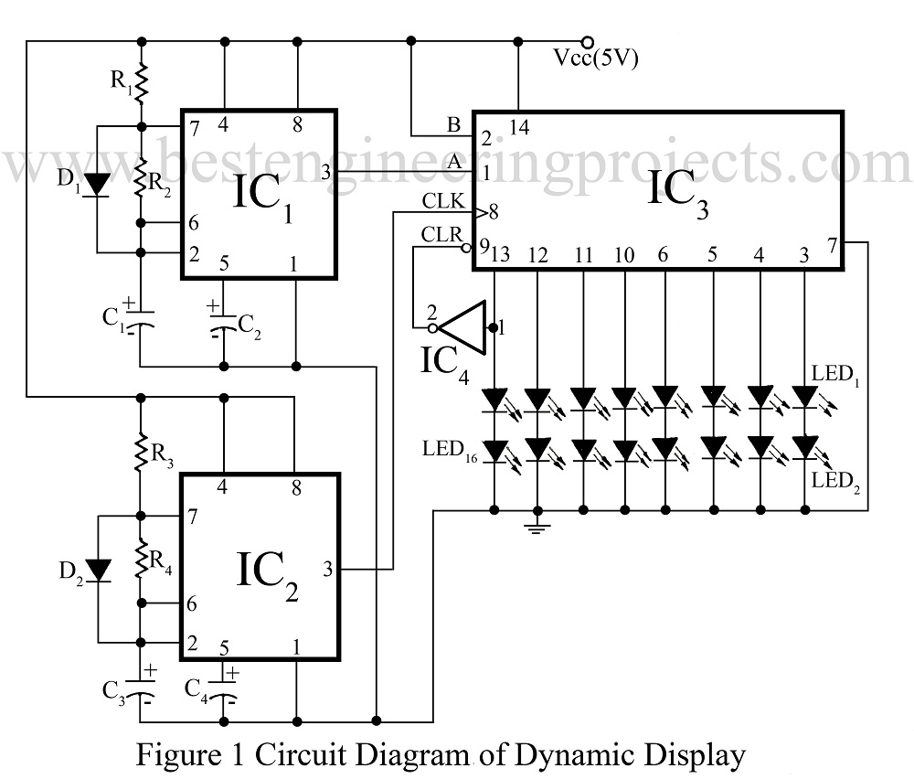 Dynamic Display Ads Circuit Best Engineering Projects Ic 556 Pin Diagram