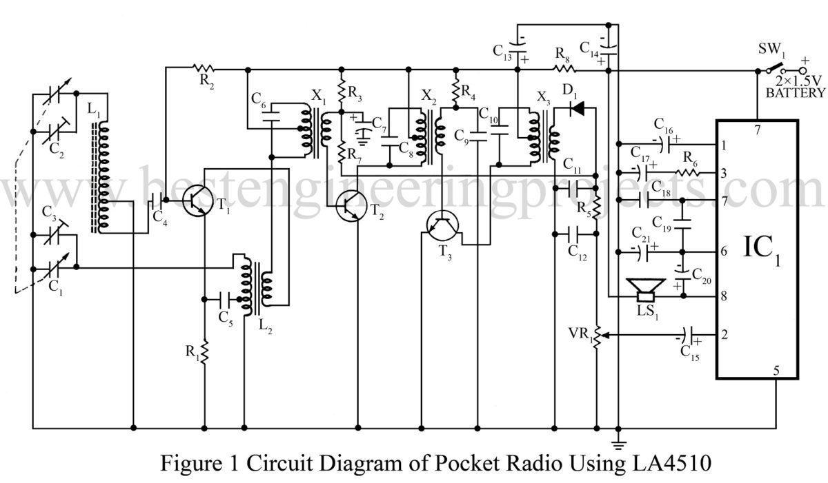 Communication Based Projects Free Project Circuit Diagram Laser Diode Driver 8 Pocket Radio Using La4510