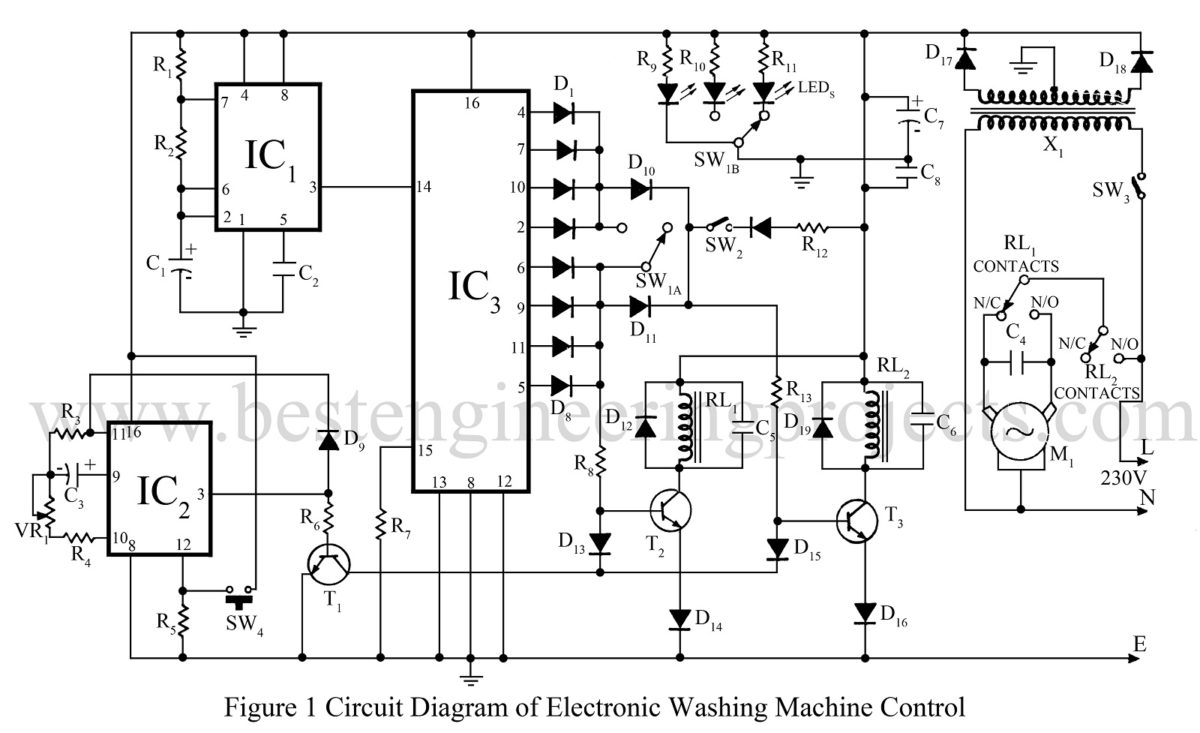Electronics Washing Machine Control Circuit Diagram And Description Tutorial Switches Relays Electronic Circuits