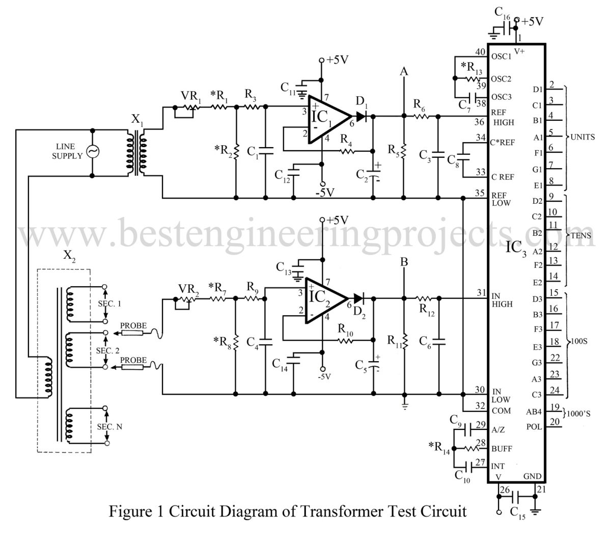 Electronic Measurement And Test Circuit Diagram Transformer To Overcome Line Voltage Variation