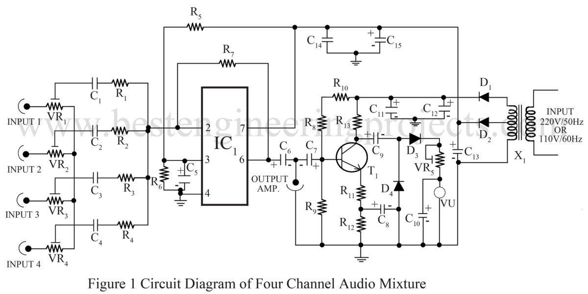 circuit diagram of four channel audio mixture