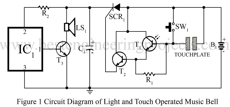 light and touch operated music door bell
