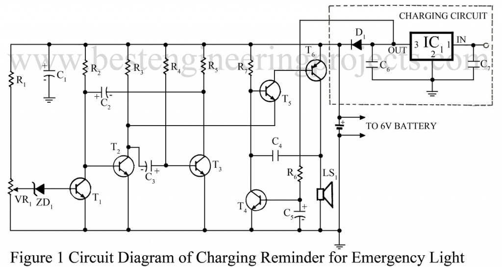 circuit diagram of 6v emergency light charging reminder for emergency light electronics project  charging reminder for emergency light