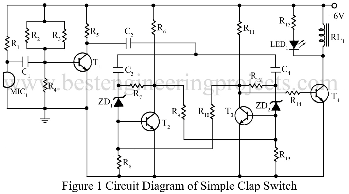Clap Switch Circuit Engineering Projects Touch Monostable Timer With 555 Ic