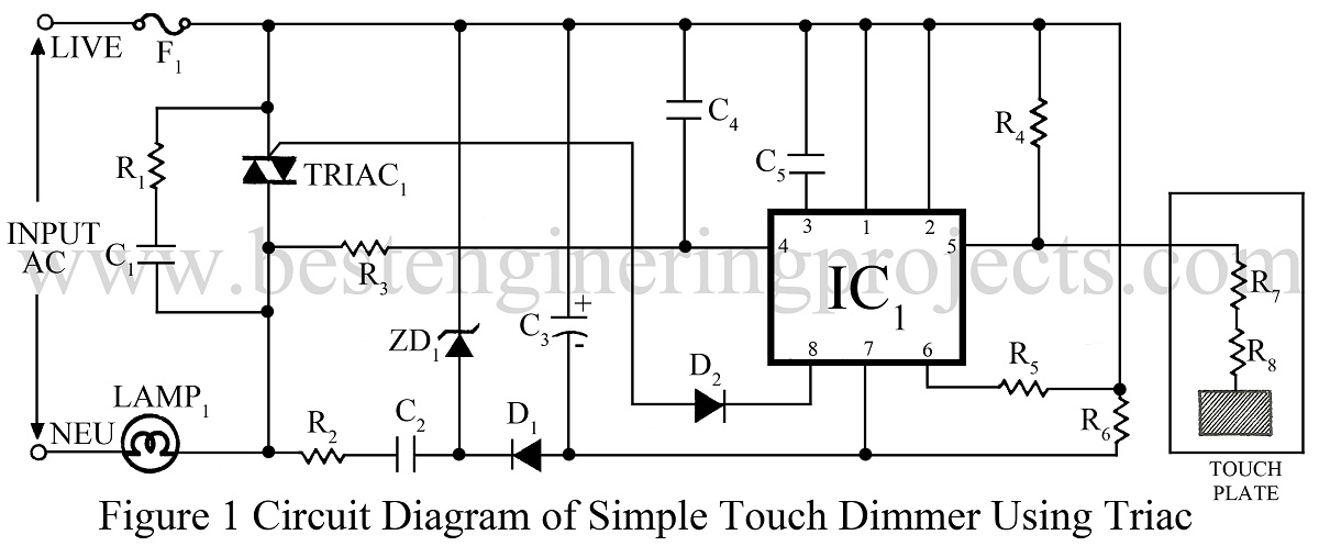 touch dimmer circuit using triac