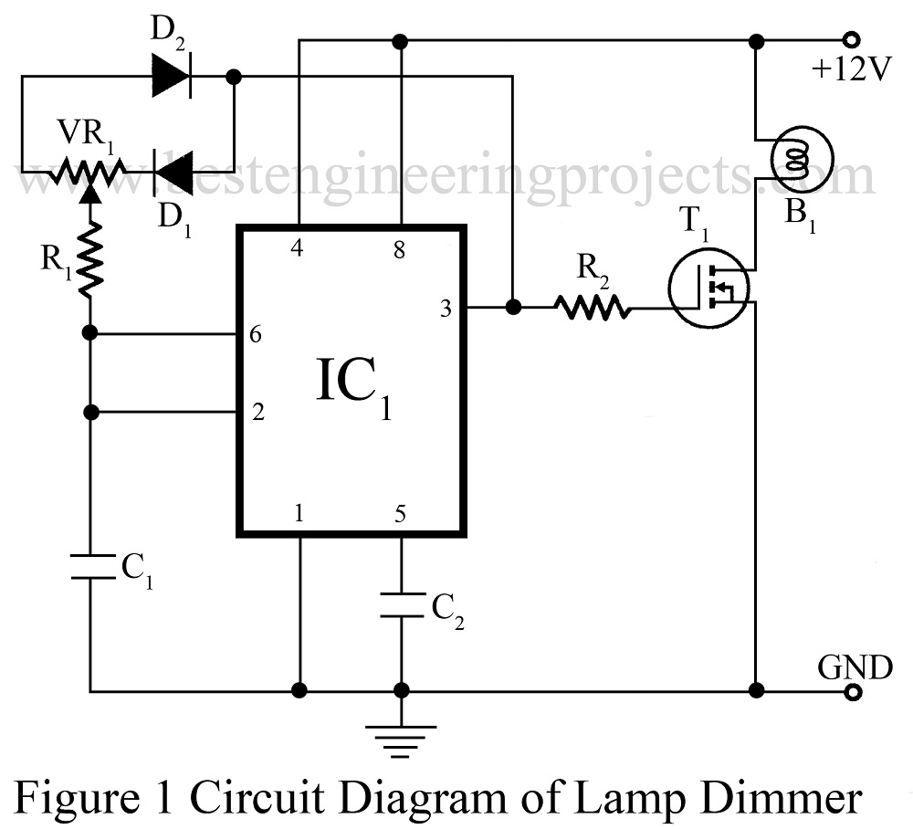 Dome Lamp Dimmer Circuit Best Engineering Projects Triac Controlled Automatic Voltage Stabilizer Electronic Circit Diagrm Of