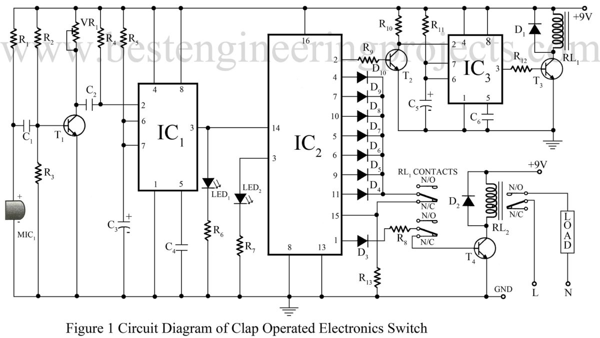 50 Top 555 Timer Ic Projects Engineering Automatic Changeover Switch Circuit Using Beeper Ne555 5 Clap Operated