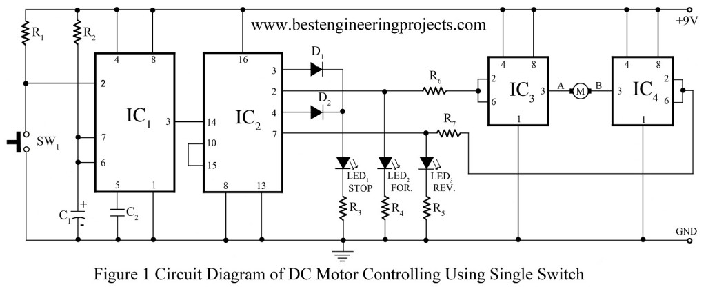 Control Circuit Diagram | Dc Motor Control Circuit Engineering Projects