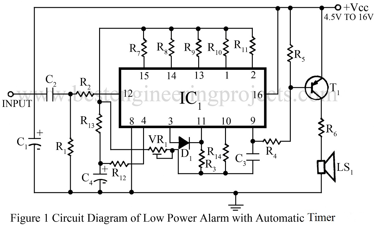 Alarm Circuit Door Bell Simple Musical Electronic Projects Diagram Of Light And Touch Operated Music 8 Low Power Automatic Timer