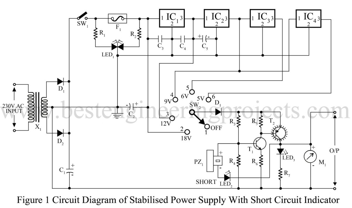 Power Supply Circuit Electronics Projects This Is A Regulated Dc With Short Protection And Stabilized Indication