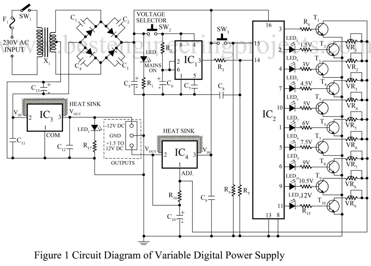 Power Supply Circuit Electronics Projects Regulated Diagram Homemade Universal Digital Of Variable