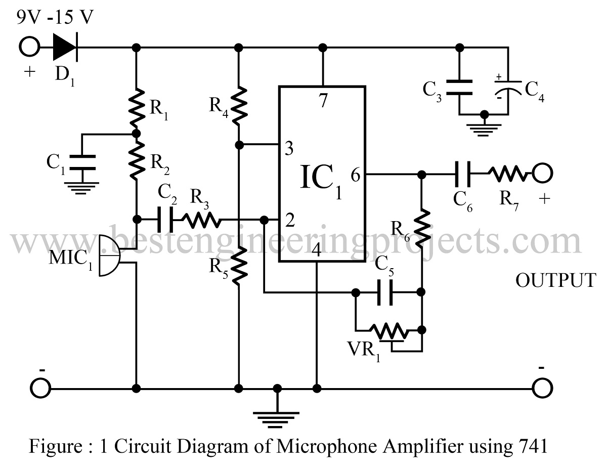 Microphone Amplifier Using Op-amp 741 | Op-amp 741 based ... on