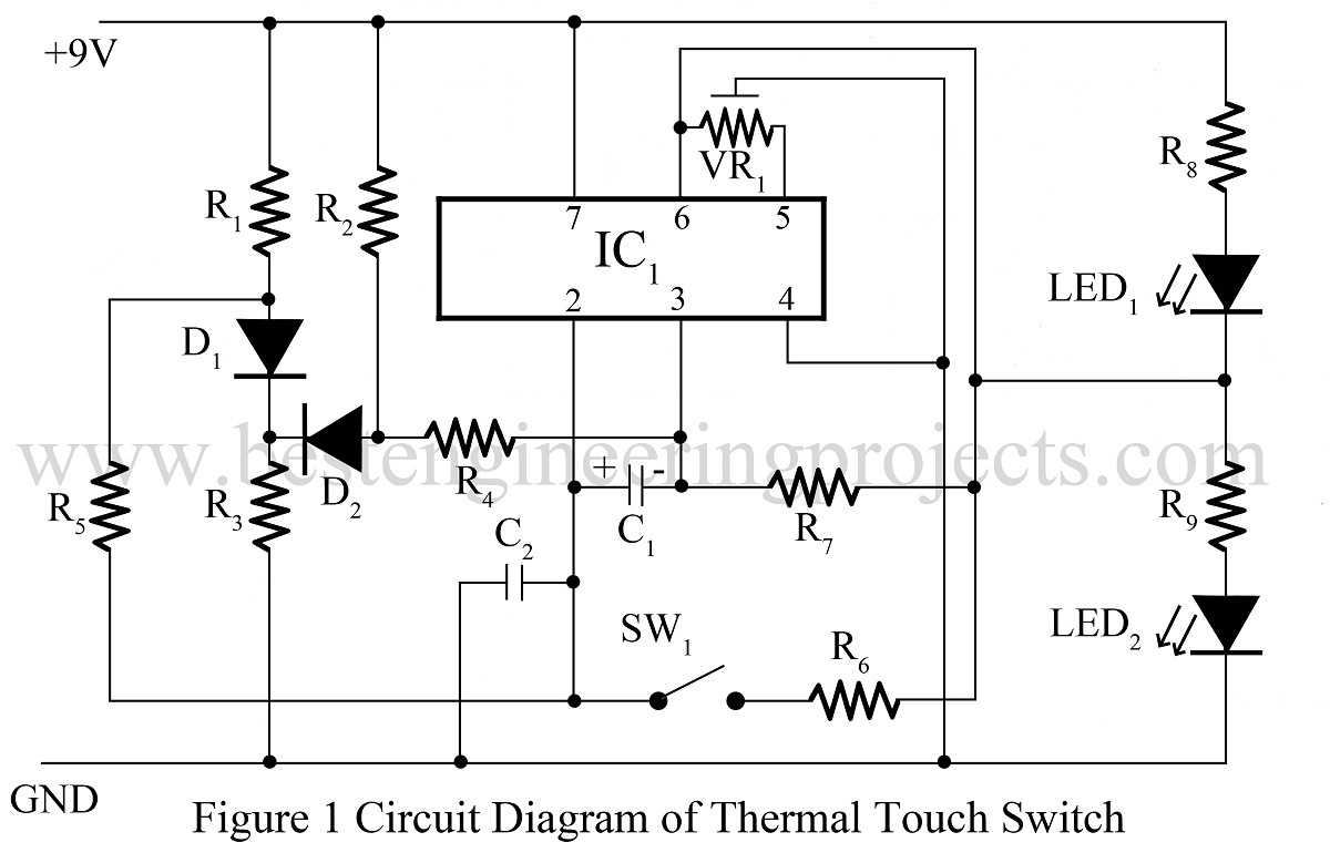 Thermal Touch Switch Using Op Amp 741 Ic Based Projects Opamp Low High Battery Charger Controller Circuit