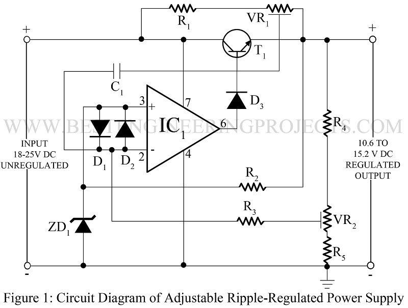 adjustable ripple regulated power supply using 741 best rh bestengineeringprojects com