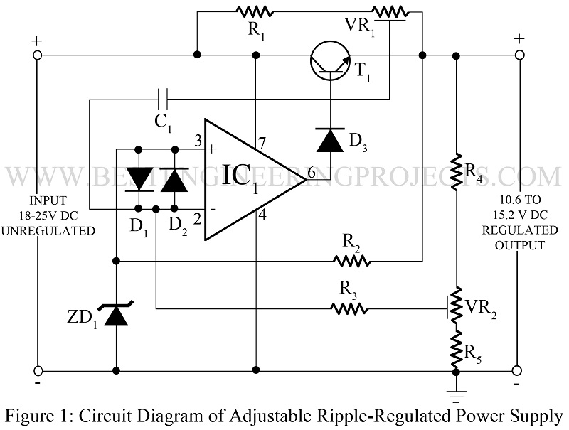 Adjustable ripple regulated power supply using 741 best adjustable ripple regulated power supply ccuart Image collections
