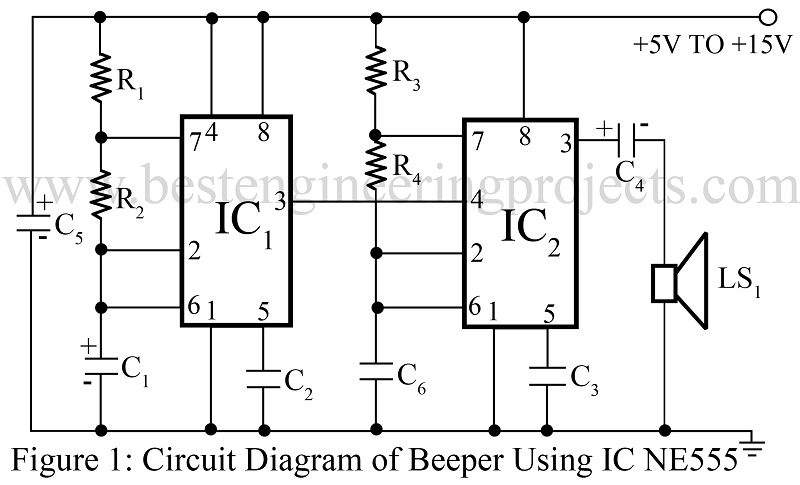 beeper circuit using timer ic 555 best engineering projects