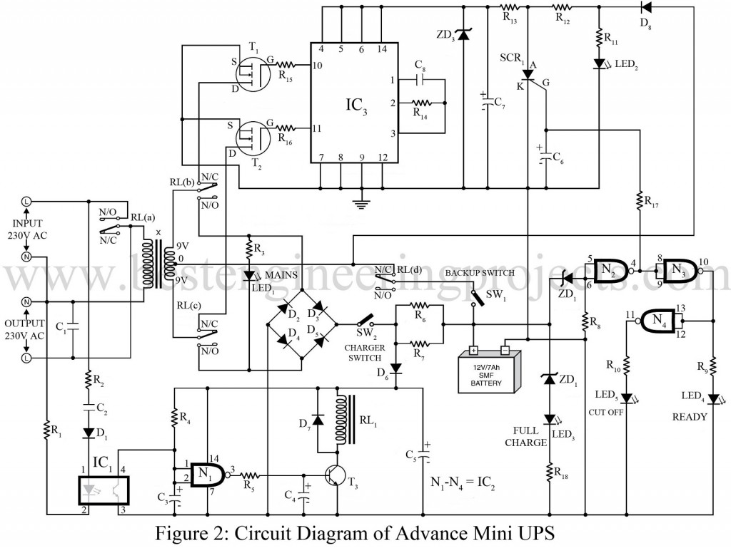 Advance Mini Ups Circuit Engineering Projects Block Diagram Of