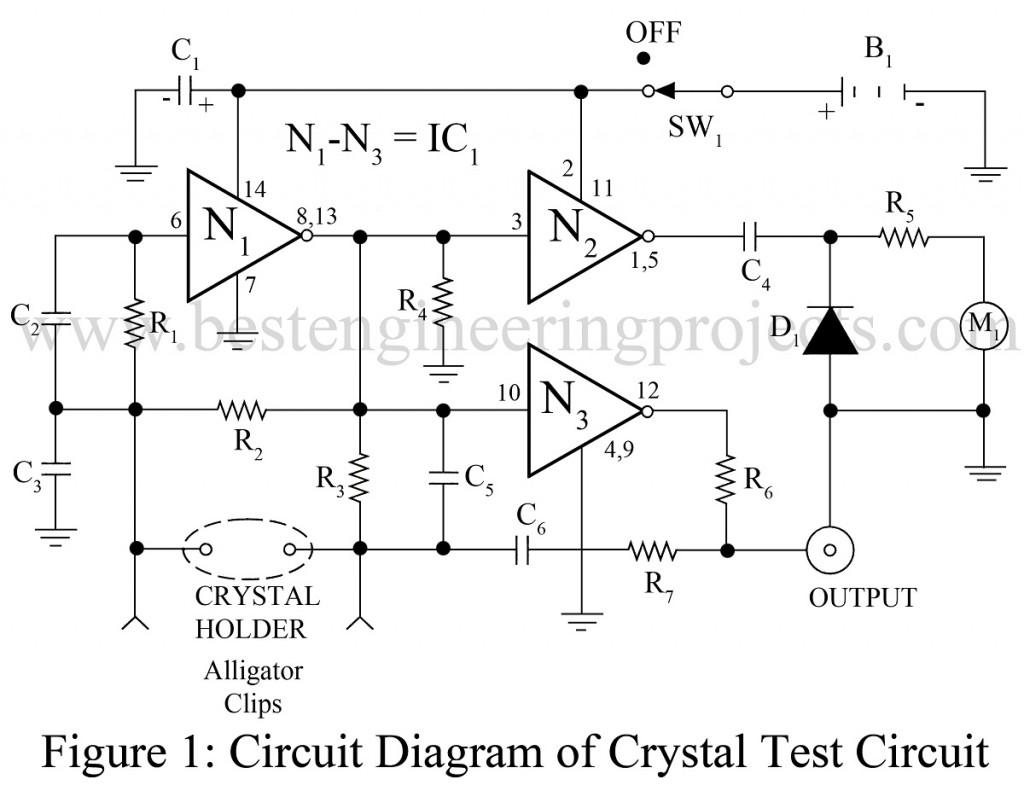 universal crystal test circuit using ca4007