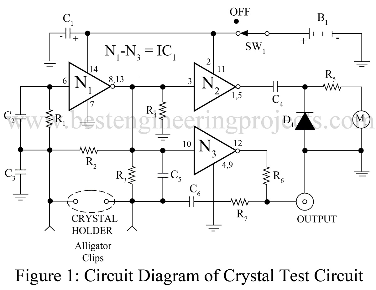 universal crystal test circuit using ca4007