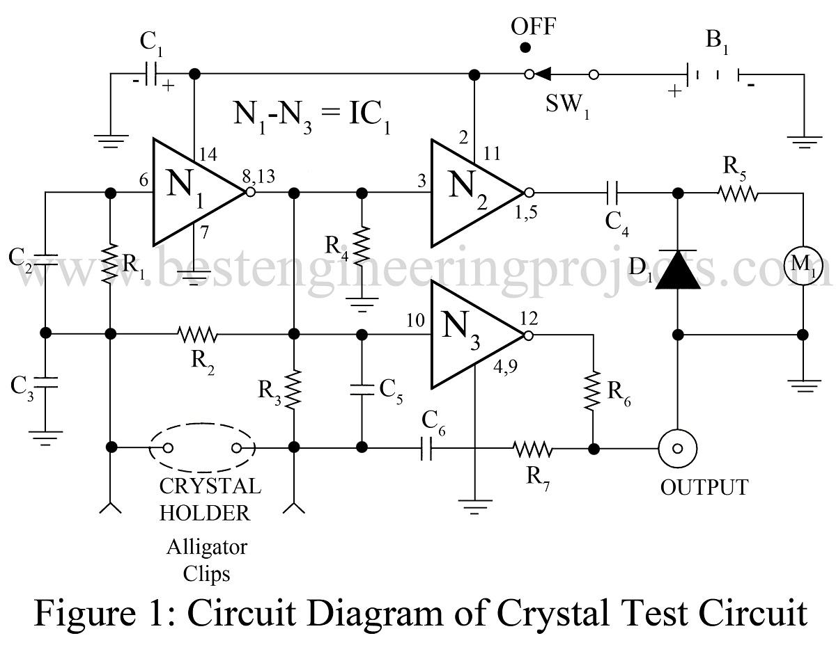 universal crystal test circuit using ca4007The Quartz Crystal Oscillator Test Circuit Diagram Is Shown As Figure #2