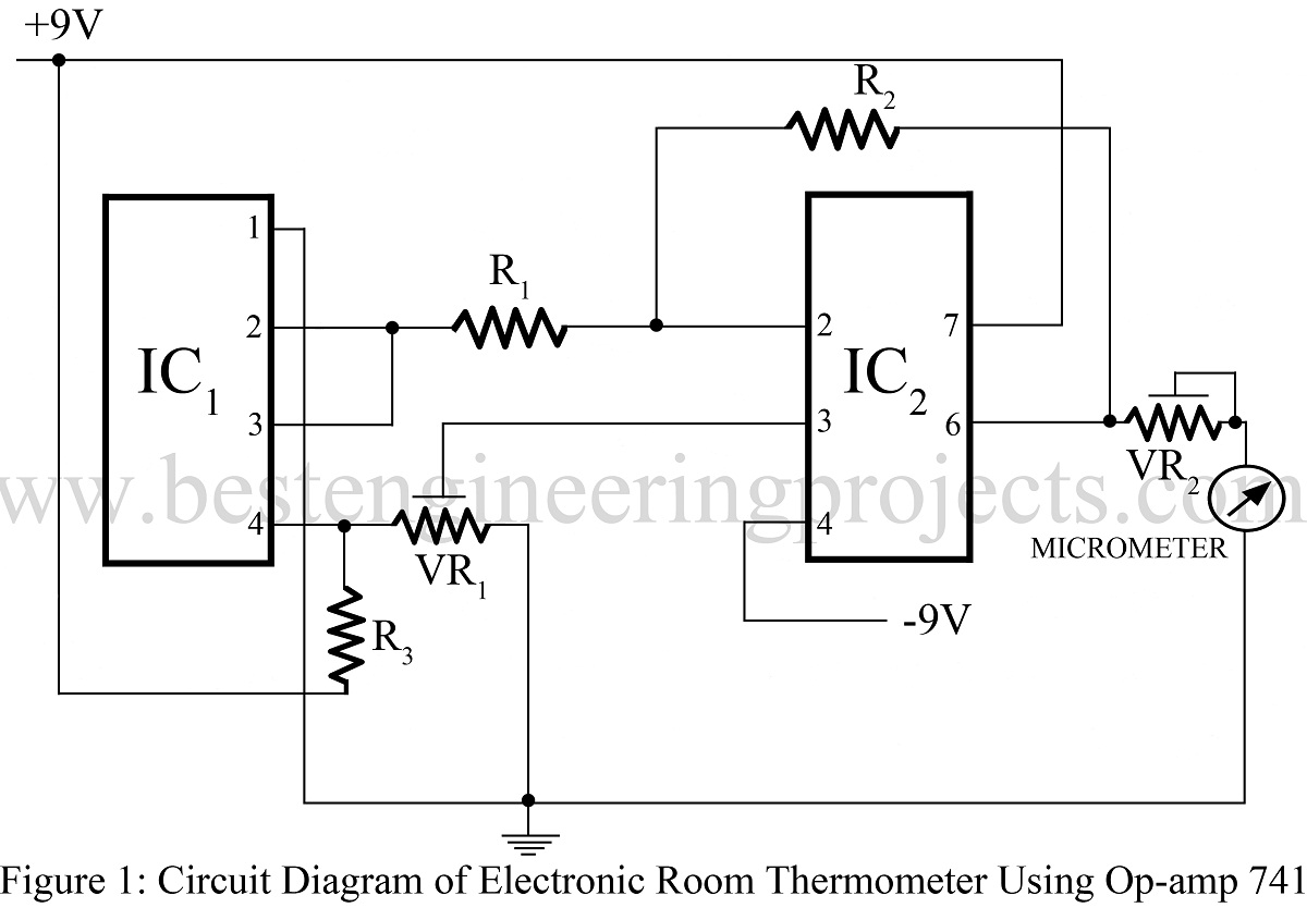 Electronic Room Thermometer Using Op Amp 741 Audio Indicator Lm741 Circuit Project