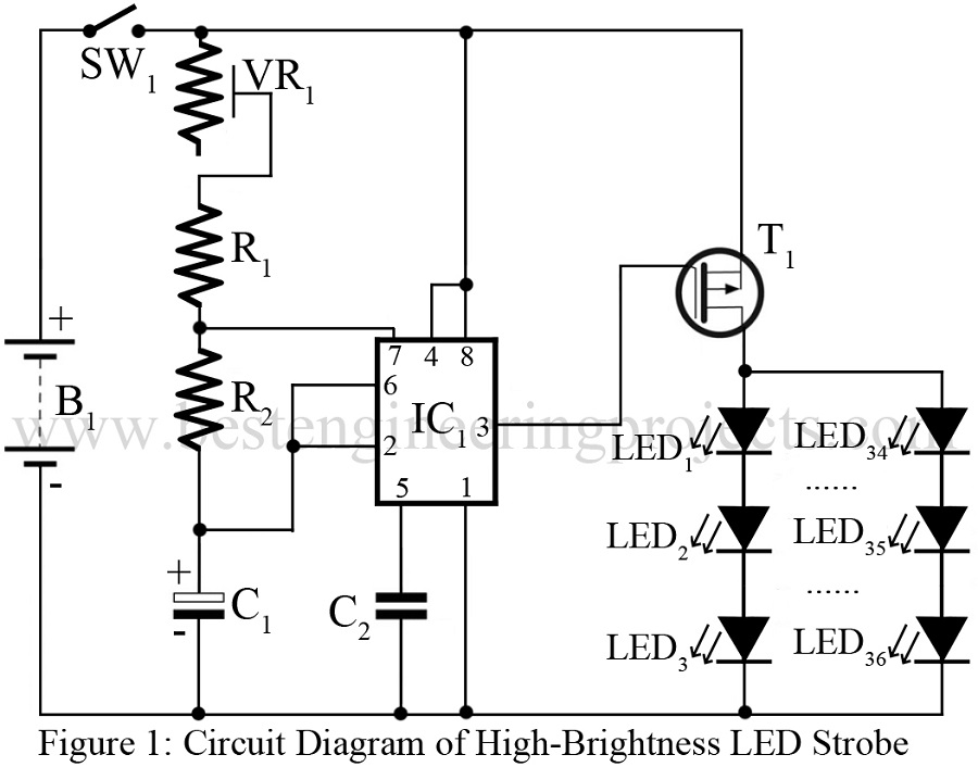 high brightness led strobe using ic 555