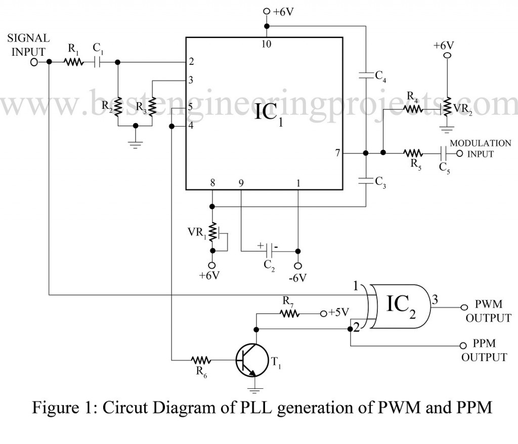 Pulse Width Modulation Pwm And Position Ppm Class D Amplifier Circuit Using Ic 555 Electronic Projects Diagram Of Pll Generation