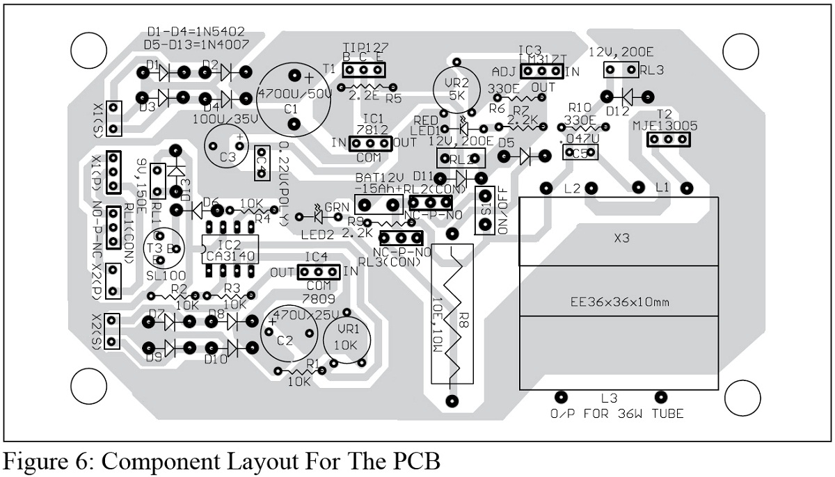 Advance Emergency Light Circuit Engineering Projects Quartz Crystal Oscillator Automotivecircuit Component Layout For The Pcb
