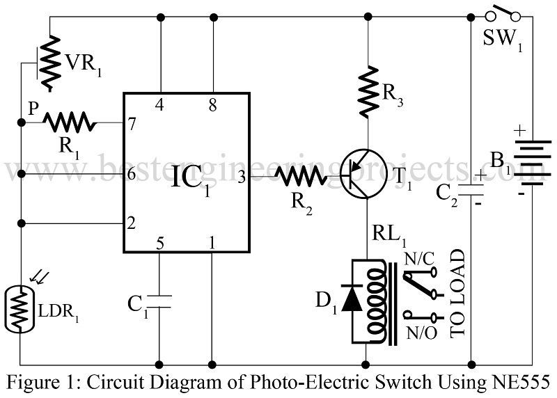 Photoelectric switch using ne555 - Engineering Projects on
