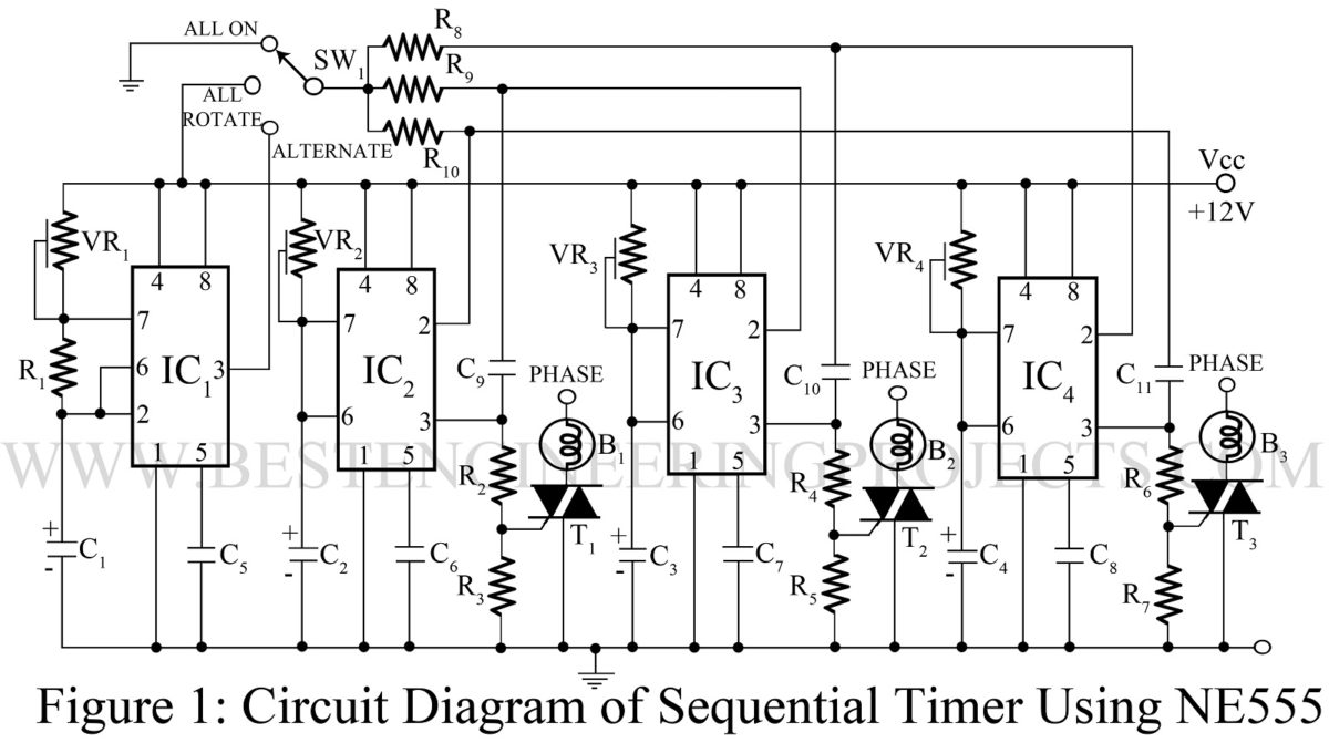 Sequential Timer Circuit Using Ne555 Best Engineering Projects Ic 555 Pin Diagram