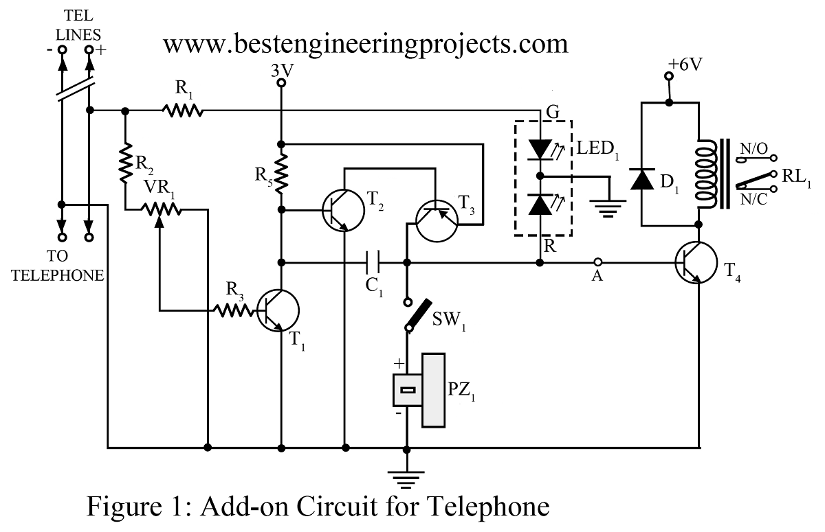 Basic Electronics Projects Circuit Schematics Electronic Telephone Ringer