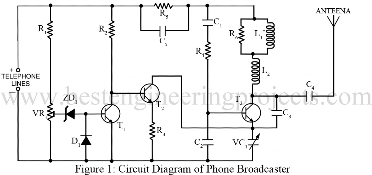 phone broadcaster circuit best engineering projects rh bestengineeringprojects com Parallel Circuit Diagram Basic Electrical Wiring Diagrams