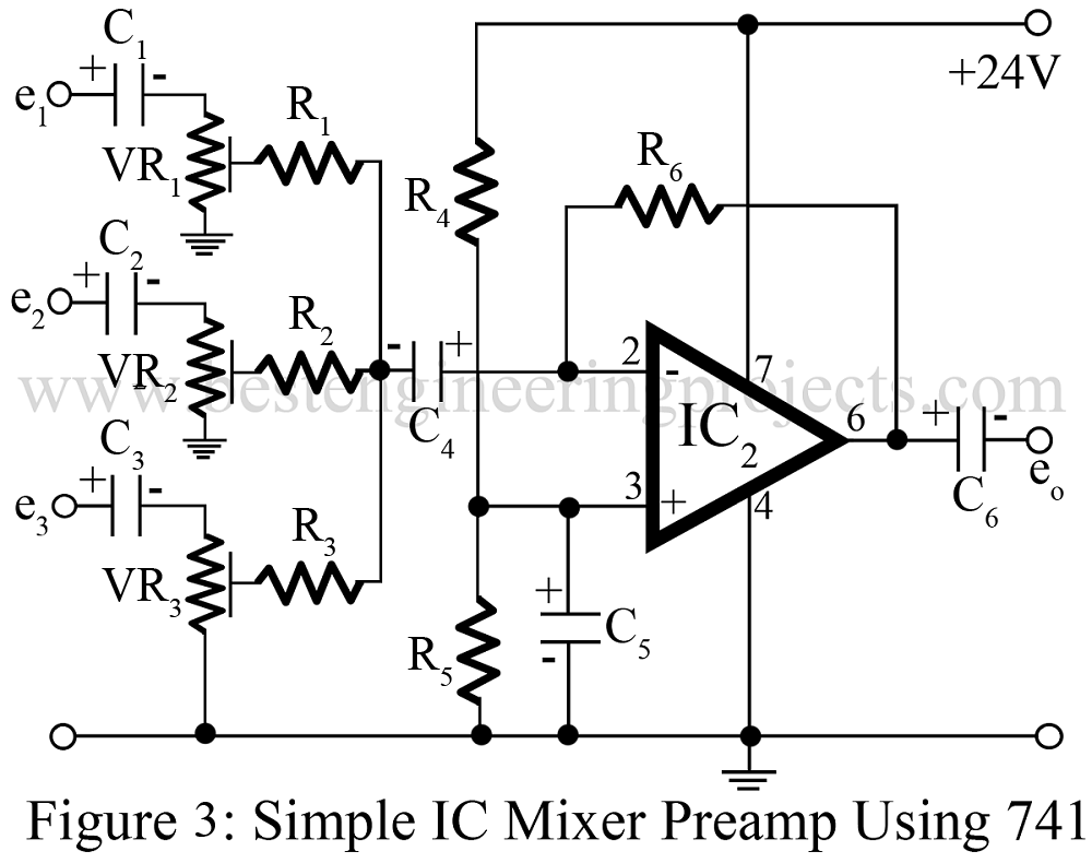 Audio Mixer Circuit Best Engineering Projects Lm741 The 741 Op Amp Is Used As A Summing Amplifier To Combine Several Mixture Using