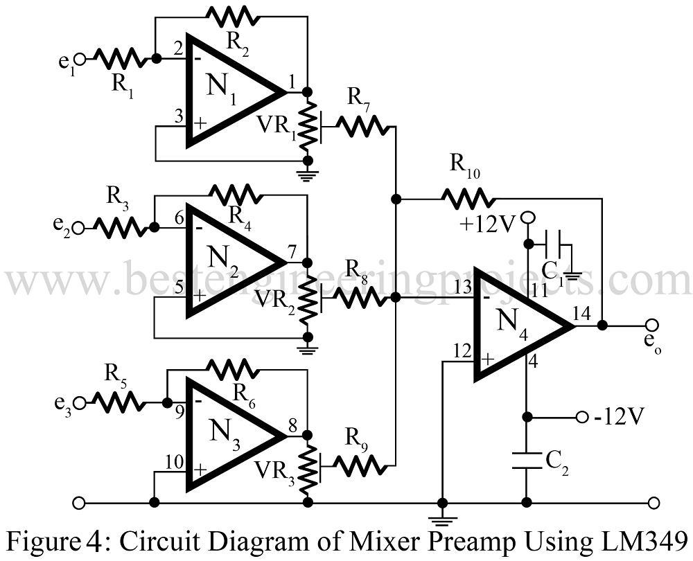 Preamplifier Circuit The Filter For Scratch And Rumble Noise Electronic Audio Mixer