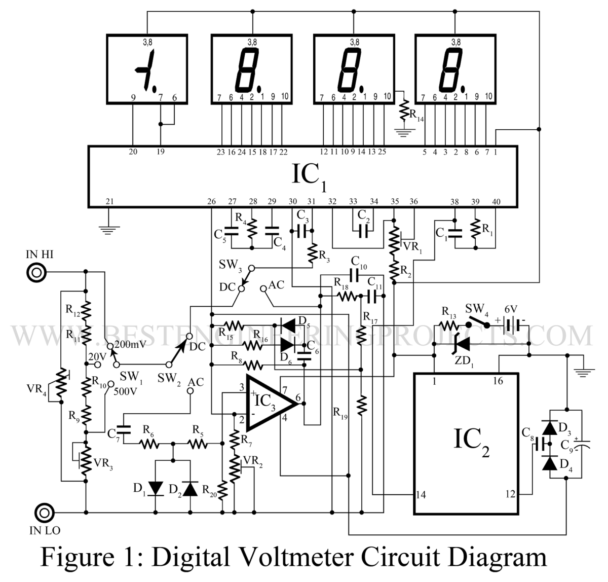 digital voltmeter  dvm  circuit using icl-7107
