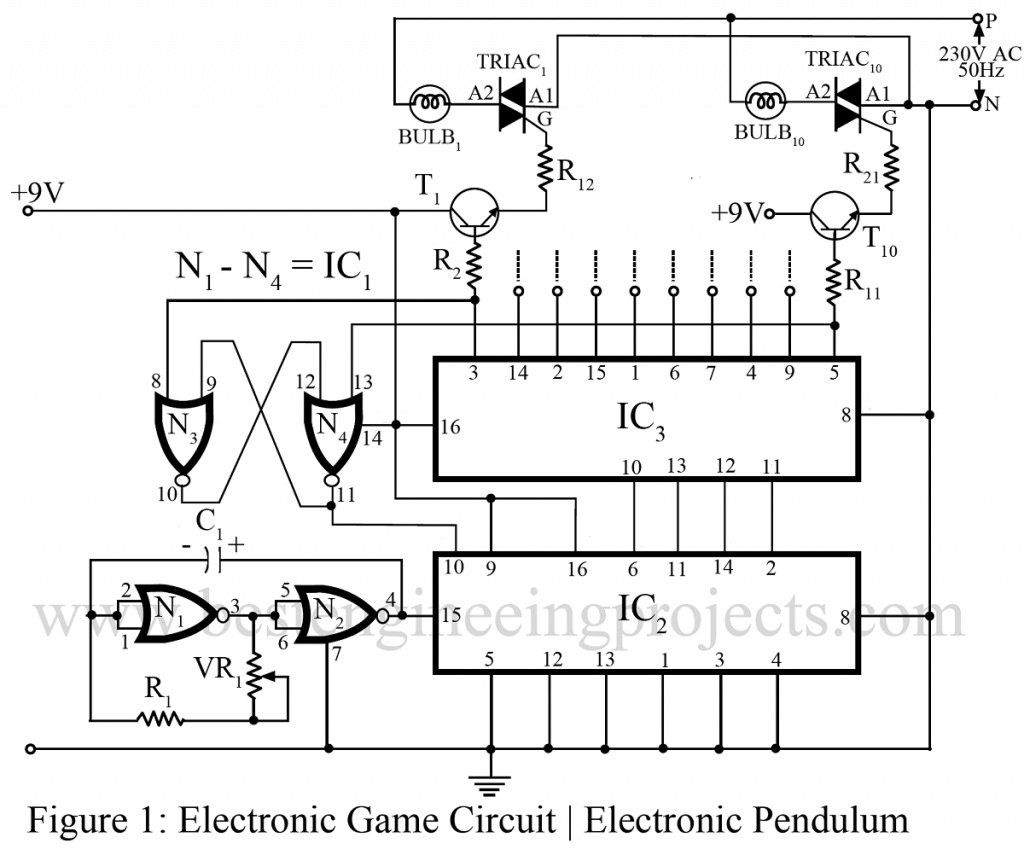electronic game circuit electronic pendulum rh bestengineeringprojects com